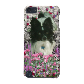 Matisse in Flowers - White & Black Papillon Dog iPod Touch (5th Generation) Case