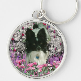 Matisse in Flowers - White & Black Papillon Dog Keychain