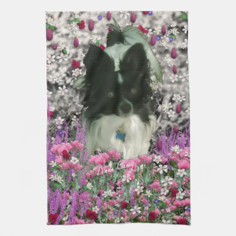 Matisse in Flowers - White & Black Papillon Dog Kitchen Towel