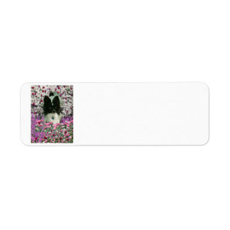 Matisse in Flowers - White & Black Papillon Dog Label