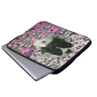 Matisse in Flowers - White & Black Papillon Dog Computer Sleeve