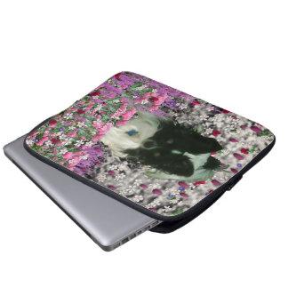 Matisse in Flowers - White & Black Papillon Dog Laptop Sleeves