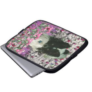 Matisse in Flowers - White & Black Papillon Dog Computer Sleeves