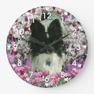 Matisse in Flowers - White & Black Papillon Dog Large Clock