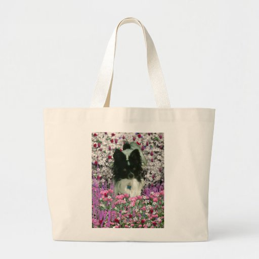 Matisse in Flowers - White & Black Papillon Dog Large Tote Bag
