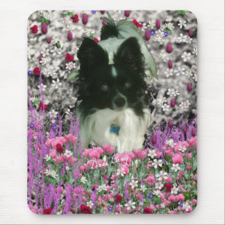 Matisse in Flowers - White & Black Papillon Dog Mouse Pad