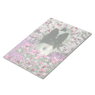 Matisse in Flowers - White & Black Papillon Dog Notepad