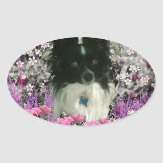 Matisse in Flowers - White & Black Papillon Dog Oval Sticker