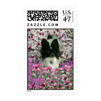 Matisse in Flowers - White & Black Papillon Dog Postage Stamp