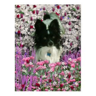 Matisse in Flowers - White Black Papillon Dog Postcards