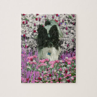 Matisse in Flowers - White & Black Papillon Dog Puzzle