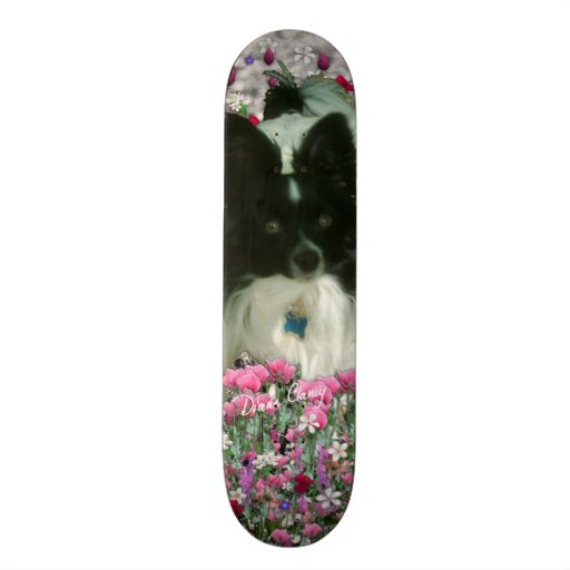 Matisse in Flowers - White & Black Papillon Dog Skate Board Deck