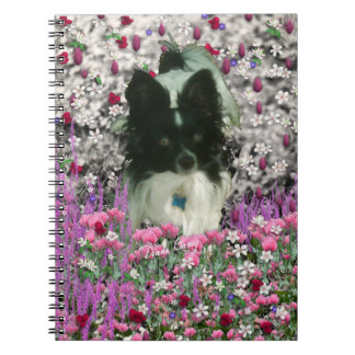 Matisse in Flowers - White & Black Papillon Dog Spiral Notebook