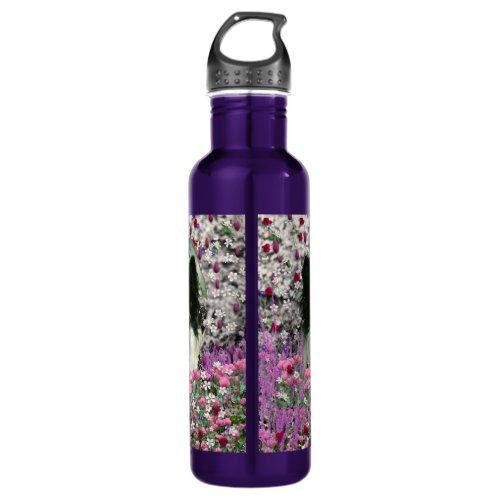 Matisse in Flowers - White & Black Papillon Dog Stainless Steel Water Bottle