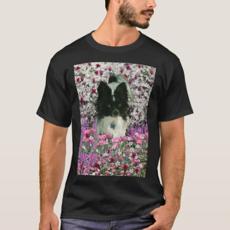 Matisse in Flowers - White & Black Papillon Dog T-Shirt