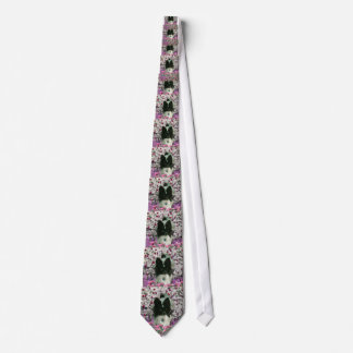 Matisse in Flowers - White & Black Papillon Dog Tie