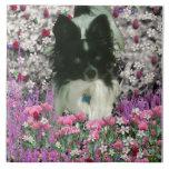 Matisse in Flowers - White & Black Papillon Dog Ceramic Tile
