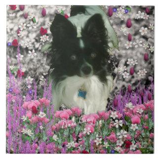 Matisse in Flowers - White Black Papillon Dog Ceramic Tile