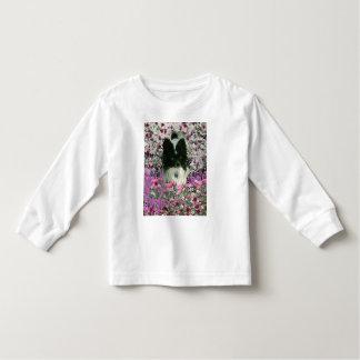 Matisse in Flowers - White & Black Papillon Dog Toddler T-shirt