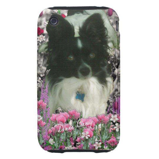 Matisse in Flowers - White & Black Papillon Dog Tough iPhone 3 Cover