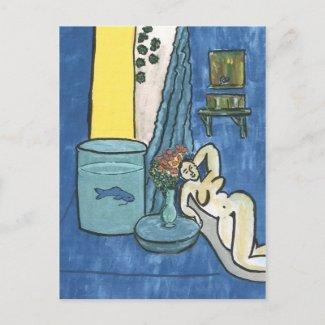 Nudité de style de Matisse avec des poissons postcard