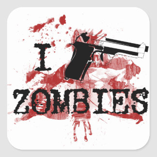 Mato a zombis pegatina cuadradas