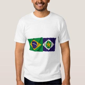 Mato Grosso y banderas que agitan del Brasil Polera