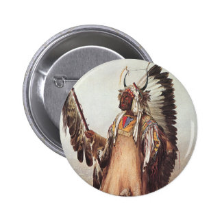 Mato-Tope, A Mandan Chief Portrait by Karl Bodmer Pinback Button