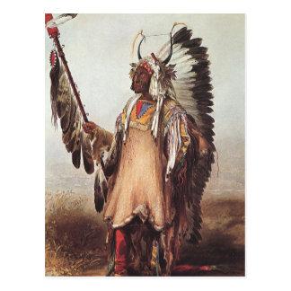 Mato-Tope, A Mandan Chief Portrait by Karl Bodmer Postcard