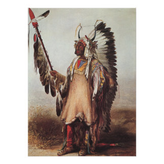 Mato-Tope, A Mandan Chief Portrait by Karl Bodmer Poster