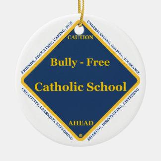 Matón - escuela católica libre adorno navideño redondo de cerámica