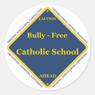 Matón - escuela católica libre pegatina redonda