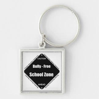 Matón - zona de la escuela libre llavero cuadrado plateado