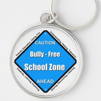Matón - zona de la escuela libre llavero redondo plateado