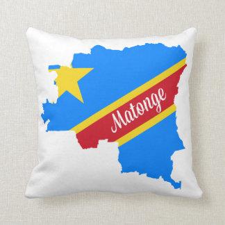 "Matonge pattern white 16"" x 16"" pillow made in USA"