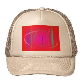 Matorral de bambú abstracto rojo vivo gorras