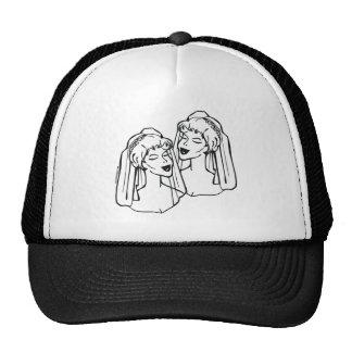 Matrimonio homosexual de 2 novias gorras de camionero