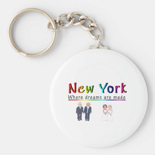 Matrimonio homosexual de Nueva York Llavero Redondo Tipo Pin