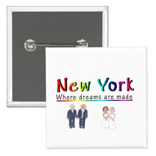 Matrimonio homosexual de Nueva York Pin Cuadrada 5 Cm
