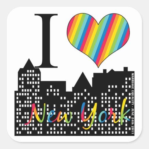 Matrimonio homosexual de NY Pegatina Cuadrada