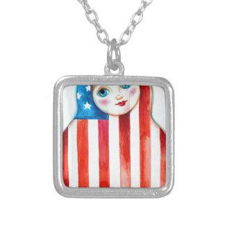 matrioshka silver plated necklace