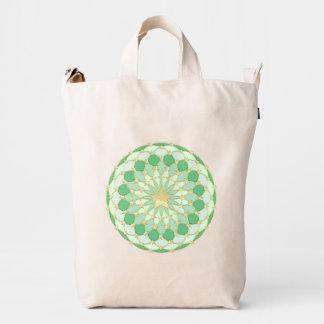 Matrix golden stars expanding circles pastel green duck bag
