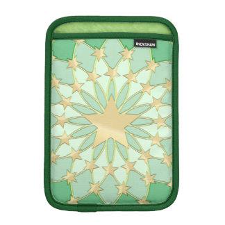 Matrix golden stars expanding circles pastel green iPad mini sleeves