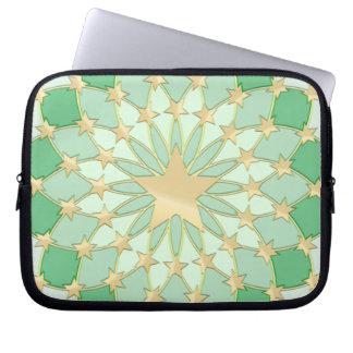 Matrix golden stars expanding circles pastel green computer sleeve