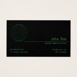 Matrix Green Sphere Cyber Business Card