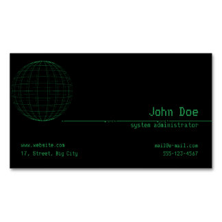 Matrix Green Sphere Cyber Magnetic Business Card