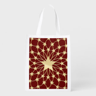 Matrix of golden stars expanding circles reusable grocery bags