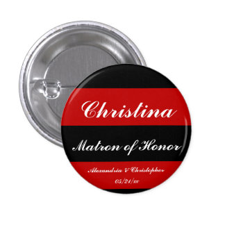 """""""Matron of Honor"""" Bold Stripes w/ Names and Date Pinback Button"""