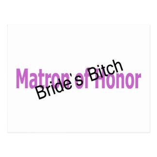 Matron of Honor Brides Bitch Purple Postcard
