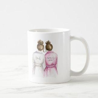 Matron of Honor? Brunette Bun Bride Br Bun Maid Classic White Coffee Mug